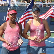 Ana Konjuh, Croatia, (right), with her winners trophy after defeating Tornado Alicia Black, USA, during the Junior Girls' Singles Final at the US Open. Flushing. New York, USA. 8th September 2013. Photo Tim Clayton