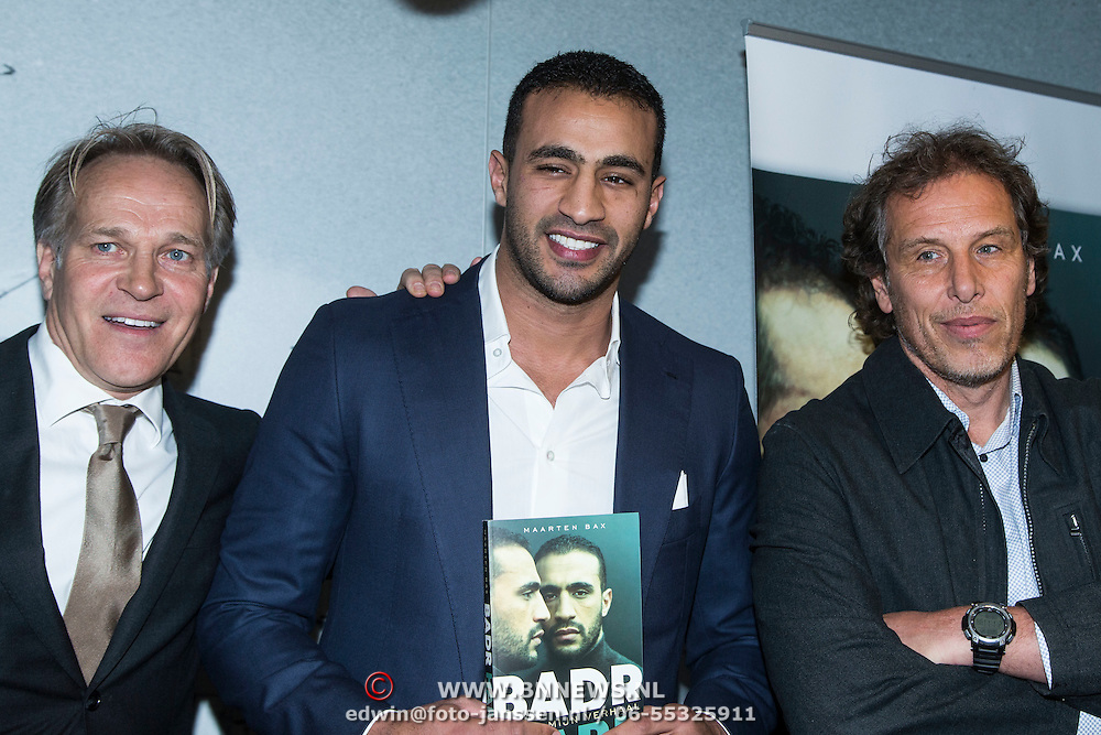 NLD/Amsterdam/20140422 - Boekpresentatie Badr Hari, (VLNR) Zaakwaarnemer Jaques de Wit, Badr Hari en sportjournalist Maarten Bax