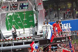 September 2, 2018 - Monza, Italy - Motorsports: FIA Formula One World Championship 2018, Grand Prix of Italy, .#77 Valtteri Bottas (FIN, Mercedes AMG Petronas Motorsport), #44 Lewis Hamilton (GBR, Mercedes AMG Petronas Motorsport), #7 Kimi Raikkonen (FIN, Scuderia Ferrari) (Credit Image: © Hoch Zwei via ZUMA Wire)