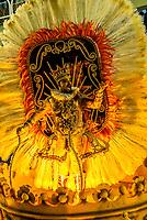 Performers on floats in the Carnaval parade of Paraiso do Tuiuti samba school in the Sambadrome, Rio de Janeiro, Brazil.
