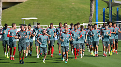 Bayern Munich's Franck Ribery (2-L) and Arjen Robben (C) take part in the  winter training camp at the Aspire Academy of Sports Excellence in the Qatari capital Doha on January. 05, 2019. FC Bayern Munich will stay in the Doha until10 January 2019 (X?inhua/Nikku) (Credit Image: © Nikku/Xinhua via ZUMA Wire)