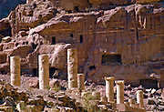 """Temple facades, funerary halls and rock reliefs are abundant throughout Petra, which was recently named one of the """"Seven Modern Wonders of the World"""" - Jordan."""