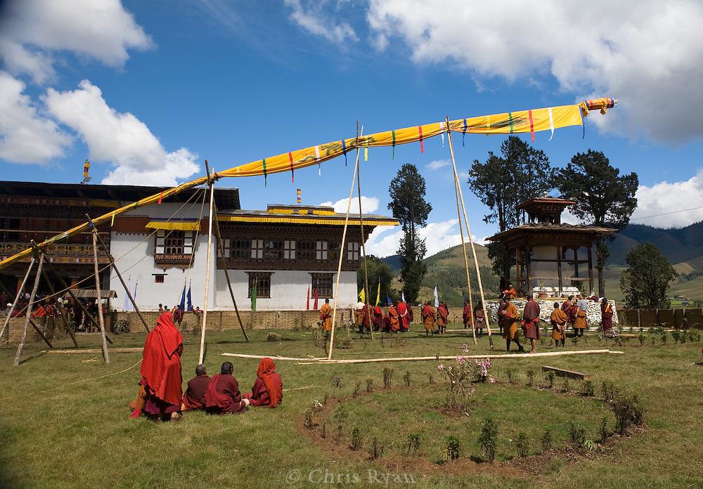 """Gangtey Monastery, consecration ceremony; hadar (""""god flag"""")"""
