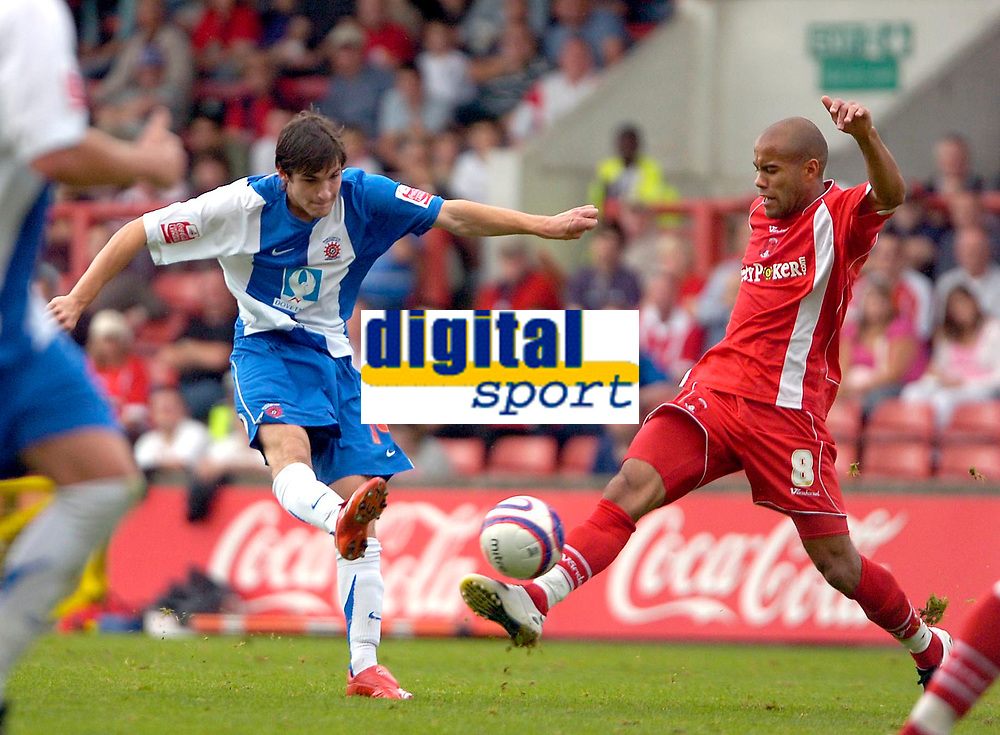 Photo: Ed Godden/Sportsbeat Images.<br /> Leyton Orient v Hartlepool United. Coca Cola League 1. 22/09/2007. Hartlepool's James Brown fires the ball in that produces the goal from Andy Monkhouse.