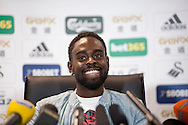 Swansea City player Nathan Dyer speaking at the Barclays Premier league pre match press conference at the Liberty Stadium in Swansea pic by Phil Rees/ Andrew Orchard sports photography.