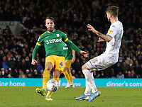 Preston North End's Ben Pearson under pressure from Leeds United's Mateusz Klich<br /> <br /> Photographer Rich Linley/CameraSport<br /> <br /> The EFL Sky Bet Championship - Leeds United v Preston North End - Thursday 26th December 2019 - Elland Road - Leeds<br /> <br /> World Copyright © 2019 CameraSport. All rights reserved. 43 Linden Ave. Countesthorpe. Leicester. England. LE8 5PG - Tel: +44 (0) 116 277 4147 - admin@camerasport.com - www.camerasport.com