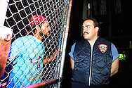 """Edinburgh Festival Fringe reveiw picture: Prison guard Valdez (David Zayas, right) and Angel (Joe Quintero) in a scene from """"Jesus Hopped the 'A' Train"""" by the LAByrinth Theater Company from New York City, directed by Philip Seymour Hoffman. The play ran at the Guilded Balloon during the Edinburgh Festival Fringe."""