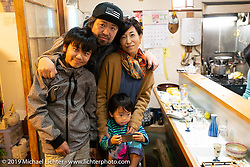 Yuichi Yoshizawa and his family after an amazing dinner was prepared by 82 year old Harley-Davidson Ultra riding chef Ryutaro Nakamura at Tenryu Restaurant in Konan City, Shiga on a night out with Cuatom Works Zon. No menu - just each course prepared one at a time before as the chef saw fit. Wednesday, December 5, 2018. Photography ©2018 Michael Lichter.