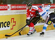 04.April 2012; Rapperswil-Jona; Eishockey - Schweiz - Finnland; Daniel Rubin (SUI) gegen<br />  Harri Tikkanen (FIN) (Thomas Oswald)