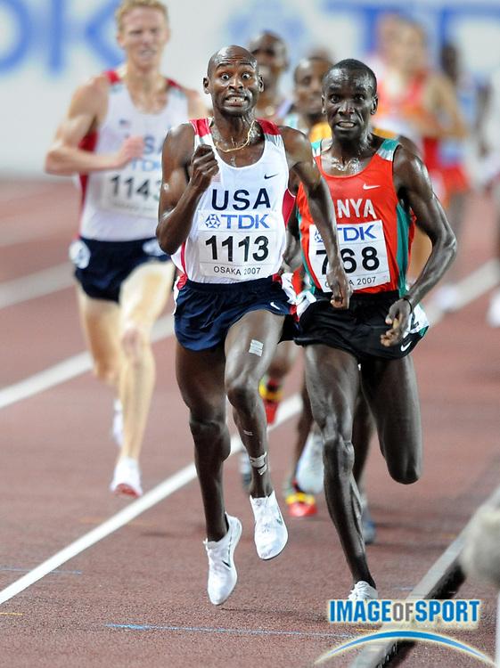 Sep 2, 2007; Osaka, JAPAN; Bernard Lagat (USA) outsprints Eliud Kipchoge (KEN) to win the 5,000m, 13:45.87 to 13:46.00, in the 11th IAAF World Championships at Nagai Stadium.