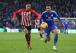 Cardiff City's Josh Murphy and Southampton's Yan Valery battle for the ball during the Premier League match at the Cardiff City Stadium, Cardiff.