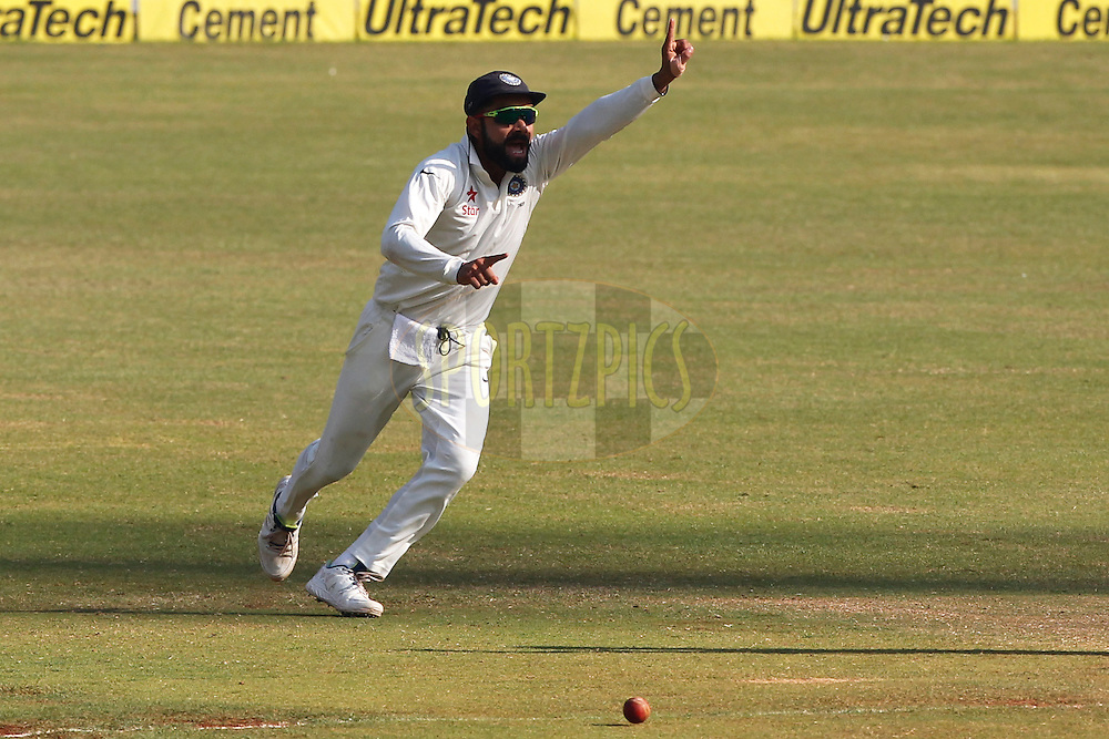 Virat Kohli Captain of India celebrates the wicket of Jonny Bairstow of England during day 5 of the fourth test match between India and England held at the Wankhede Stadium, Mumbai on the 12th December 2016.<br /> <br /> Photo by: Deepak Malik/ BCCI/ SPORTZPICS