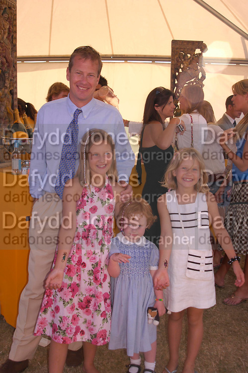 hon Louise Mountbatten ( youngest) , Lord Ivar Mountbatten,  The hon Alex and hon Ella Mountbatten ( oldest) . Veuve Clicquot Gold Cup Final at Cowdray Park. Midhurst. 17 July 2005. ONE TIME USE ONLY - DO NOT ARCHIVE  © Copyright Photograph by Dafydd Jones 66 Stockwell Park Rd. London SW9 0DA Tel 020 7733 0108 www.dafjones.com
