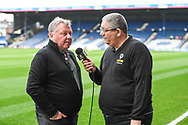 AFC Wimbledon Manager Wally Downes is interviewed by TalkSport ahead of the EFL Sky Bet League 1 match between Luton Town and AFC Wimbledon at Kenilworth Road, Luton, England on 23 April 2019.