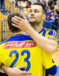 Miha Zarabec of RK Celje PL and Luka Zvizej of RK Celje PL during handball match between RK Celje Pivovarna Lasko and RK Gorenje Velenje in Eighth Final Round of Slovenian Cup 2015/16, on December 10, 2015 in Arena Zlatorog, Celje, Slovenia. Photo by Vid Ponikvar / Sportida