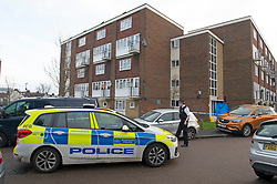 © Licensed to London News Pictures 06/02/2021.        Croydon, UK. Police outside the flats which is the crime scene. A man has been killed and ten others have been stabbed with two in a life threatening condition in hospital after a night of knife violence in Croydon, South London. Police have put a large cordon in place at the murder scene in Wisbeach Road. Photo credit:Grant Falvey/LNP