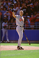 CHICAGO - JULY 1: Cal Ripken Jr. of the Baltimore Orioles acknowledges the crowd as he steps to the plate for his final at bat in Chicago versus the Chicago White Sox on July 1, 2001 at Comiskey Park in Chicago, Illinois. (Photo by Ron Vesely) Subject:   Cal Ripken Jr.