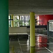 Paris, France, , 2004: Interior view of hall entrance of the La Maison du Brésil (1953-1959), at Citè Universitaire in boulevard Jourdan 7, Paris, France - Le Corbusier and Lucio Costa architects - . Photographs by Alejandro Sala