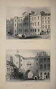 London Giltspur Street, Compter [top] and St. John's Gate Clerkenwell From the book Illustrated London, or a series of views in the British metropolis and its vicinity, engraved by Albert Henry Payne, from original drawings. The historical, topographical and miscellanious notices by Bicknell, W. I; Payne, A. H. (Albert Henry), 1812-1902 Published in London in 1846 by E.T. Brain & Co