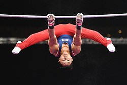 August 18, 2018 - Boston, Massachussetts, U.S - ADRIAN DE LOS ANGELES practices on the high bar during the warm-up period before the final round of competition held at TD Garden in Boston, Massachusetts. (Credit Image: © Amy Sanderson via ZUMA Wire)