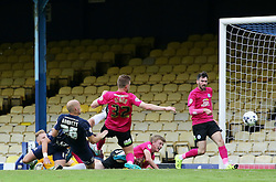 Southend United's Adam Barrett scores the opening goal - Mandatory byline: Joe Dent/JMP - 07966386802 - 05/09/2015 - FOOTBALL - Roots Hall -Southend,England - Southend United v Peterborough United - Sky Bet League One