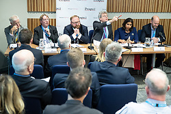 """© Licensed to London News Pictures . 01/10/2018. Birmingham, UK. Professor Alan Winters , John Howell MP , David Leighton of ABPorts , Tom Clark of Prospect , Suella Braverman MP Parliamentary Under Secretary of State for the Department for Exiting the EU and Josh Hardie of the CBI . Prospect magazine fringe event titled """" Beyond tariffs where are our opportunities to boost trade post-Brexit """" , supported by Associated British Ports . Day 2 of the Conservative Party conference at the ICC in Birmingham . Photo credit: Joel Goodman/LNP"""