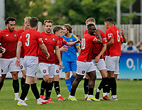 Football - 2021 / 2022 Emirates FA Cup - First Round Qualifying - Bootle vs. FC United of Manchester - Berry Street Garage Stadium - Saturday 4th September 2021<br /> <br /> Cedric Main of FC United of Manchester celebrates with his team mates after he headed his side 1-0 ahead, at the Berry Street Garage Stadium.<br /> <br /> COLORSPORT/Alan Martin