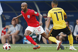 Fabian Delph of England, Youri Tielemans of Belgium during the 2018 FIFA World Cup Play-off for third place match between Belgium and England at the Saint Petersburg Stadium on June 26, 2018 in Saint Petersburg, Russia