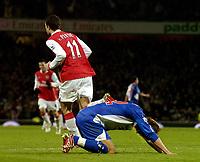 Photo: Olly Greenwood , Digitalsport<br /> Arsenal v Blackburn Rovers<br />  The Barclays Premiership. 23/12/2006. Arsenal's Robin Van Persie celebrates scoring while Blackburn's <br /> Morten Gamst Pedersen looks dejected