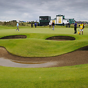The 2012 Open Championship at Royal Lytham & St Anne's.  Friday. Day 2 of the Championship. Leader Brandt Snedeker on the 17th green . The bunkers make a smiley face. Picture Robert Perry The Scotsman 20th July 2012