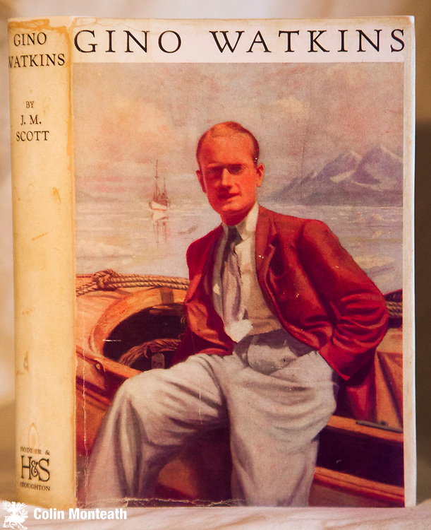 GINO WATKINS - J M Scott, Hodder & Stoughton, London, 1st edn., 1935, 310 page hardback in original blue cloth, B&W plates, overall fine with sl worn but scarce jacket, - the definitive biography of this British explorer who died while leading Greenland expedition - $NZ120