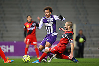 Martin Braithwaite / Lionel Mathis - 20.12.2014 - Toulouse / Guingamp - 19eme journee de Ligue 1 <br />