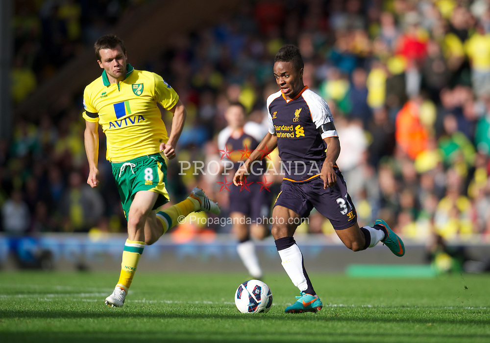 NORWICH, ENGLAND - Saturday, September 29, 2012: Liverpool's Raheem Sterling in action against Norwich City during the Premiership match at Carrow Road. (Pic by David Rawcliffe/Propaganda)