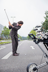 Man Risky road Cross golf deciding Decision goal