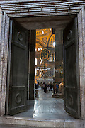 Entrance doorway at Hagia Sophia, Ayasofya Muzesi, mosque museum in Sultanahmet, Istanbul, Republic of Turkey