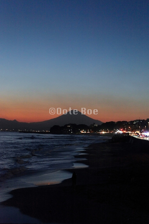 picturesque Mt Fuji with beach during sun set
