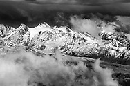 First snow and cloudy peaks of the Lepontine Alps with the peak of the Rappehorn view from the Aletsch area, Valais, Switzerland