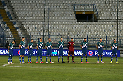 Players of Slovenia prior to the football match between National teams of Greece and Slovenia in Final tournament of Group Stage of UEFA Nations League 2020, on November 18, 2020 in Georgios Kamaras Stadium, Athens, Greece. Photo by BIRNTACHAS DIMITRIS / INTIME SPORTS / SPORTIDA