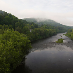 The Passumpsic River as it flows through St Johnsbury in Vermont USA
