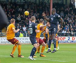 Dundee's Benjamin Kallman (hidden) scoring their goal. Dundee 1 v 3 Motherwell, SPFL Ladbrokes Premiership game played 1/9/2018 at Dundee's Kilmac stadium Dens Park