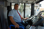 Israel, Tel Aviv, bus driver in his bus