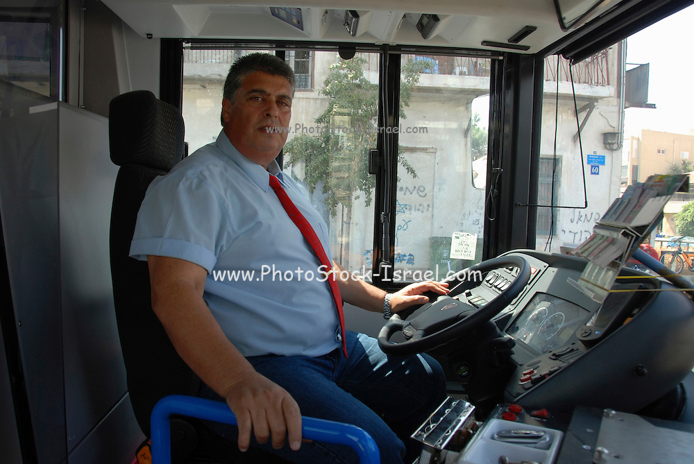 Israel, Tel Aviv, bus driver in his bus