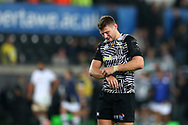 Dan Biggar of the Ospreys looks dejected at the end of the match after the Ospreys lose game,  European Rugby Champions Cup, pool 2 match, Ospreys v ASM Clermont Auvergne at the Liberty Stadium in Swansea, South Wales on Sunday 15th October 2017.<br /> pic by  Andrew Orchard, Andrew Orchard sports photography.