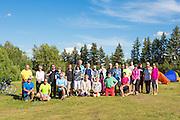 GASP 2015 cyclists gather at Macklin Lake Regional Park campground for group photo at start of tour, Macklin, Saskatchewan, near the Alberta border.