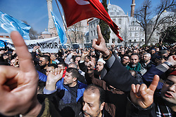 Demonstrators chant slogans against the mosque attacks in New Zealand during a protest in Istanbul, Turkey, March 16, 2019. World leaders expressed condolences and condemnation following the deadly attacks on mosques in the New Zealand city of Christchurch, while Muslim leaders said the mass shooting was evidence of a rising tide of violent anti-Islam sentiment. Photo by Kemal Aslan/Depo Photos/ABACAPRESS.COM