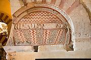 Moorish arch stonework design, Cathedral church former Great mosque, Cordoba, Spain