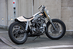 Hide Motorcycles' Hideya Togashi's custom Shovelhead in the style of an XR racer that was shown here at the Mooneyes Yokohama Hot Rod & Custom Show. Yokohama, Japan. December 2, 2016.  Photography ©2016 Michael Lichter.