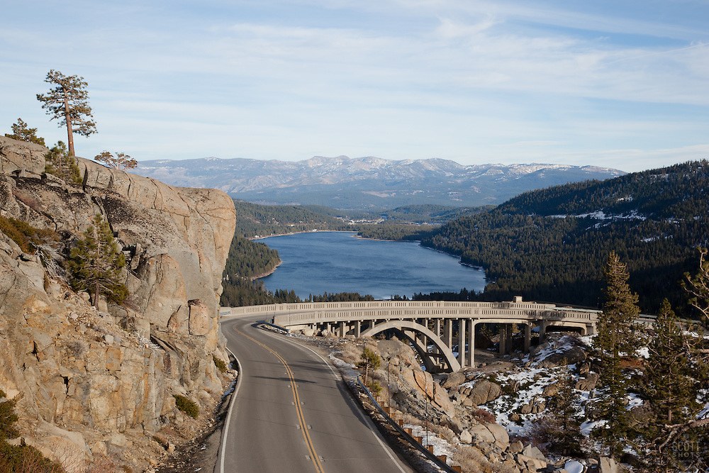 """""""Road to Rainbow Bridge"""" - Photograph of the road leading to Rainbow Bridge, also know as Donner Memorial Bridge, above Donner Lake and Truckee, CA."""