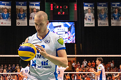 12-05-2019 NED: Abiant Lycurgus - Achterhoek Orion, Groningen<br /> Final Round 5 of 5 Eredivisie volleyball, Orion wins Dutch title after thriller against Lycurgus 3-2 / Dennis Borst #18 of Lycurgus