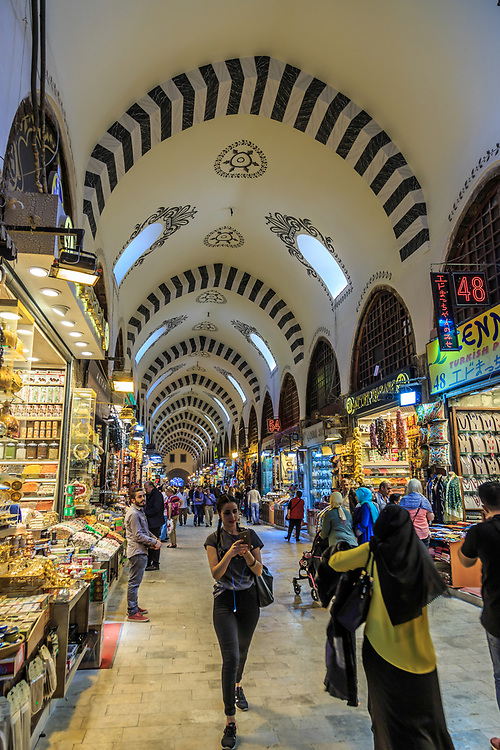 The Egyptian Spice Bazaar in Istanbul, Turkey. This bazaar has been selling nuts, oils, fruits, freshly ground Mehmet Efendi coffee and spices since 1664.